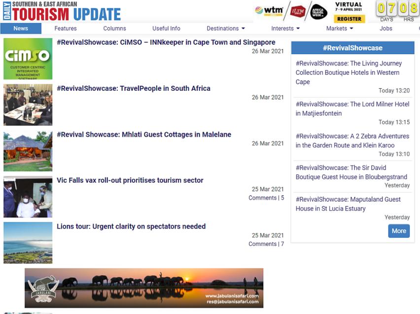 CiMSO features in Tourism Update